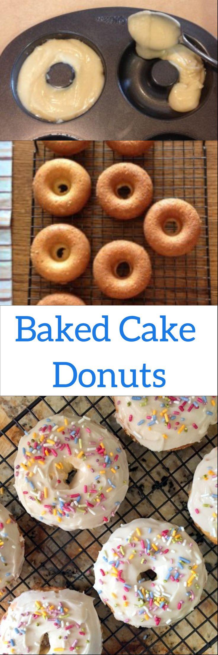 Oven Baked Cake Donuts Frosted Vanilla #breakfast #donut #doughnut #cakedonut