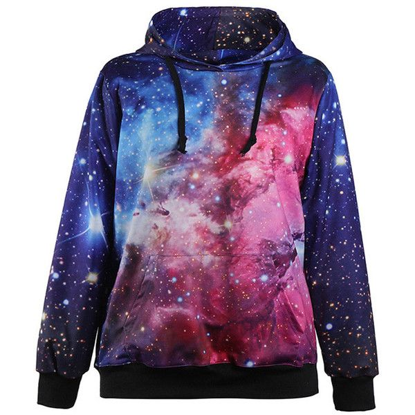 Blue Galaxy Pocket Accent Hooded Sweatshirt (€16) ❤ liked on Polyvore featuring tops, hoodies, sweatshirts, jackets, shirts, sweaters, blue, galaxy print hoodie, purple hoodie and long-sleeve shirt