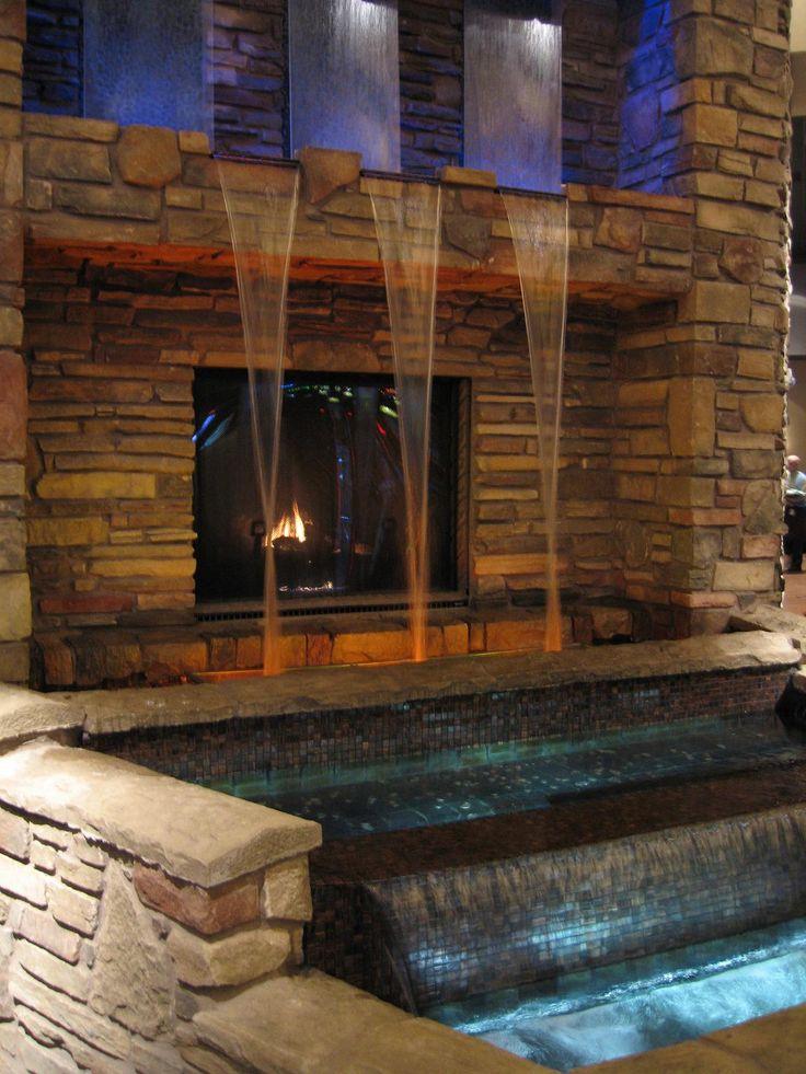 Close-up of fireplace, water walls, waterfalls & rockwork