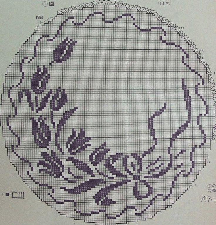 Первые тюльпаны 2 салфетка крючком схема