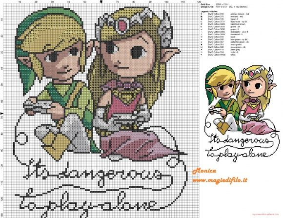 Its dangerous to play alone - Link and Zelda pattern by Monica