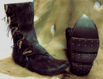 Viking hersir boots with leather clump sole. Shoe and boot making classes available in Portland OR.       Laughingcrowe