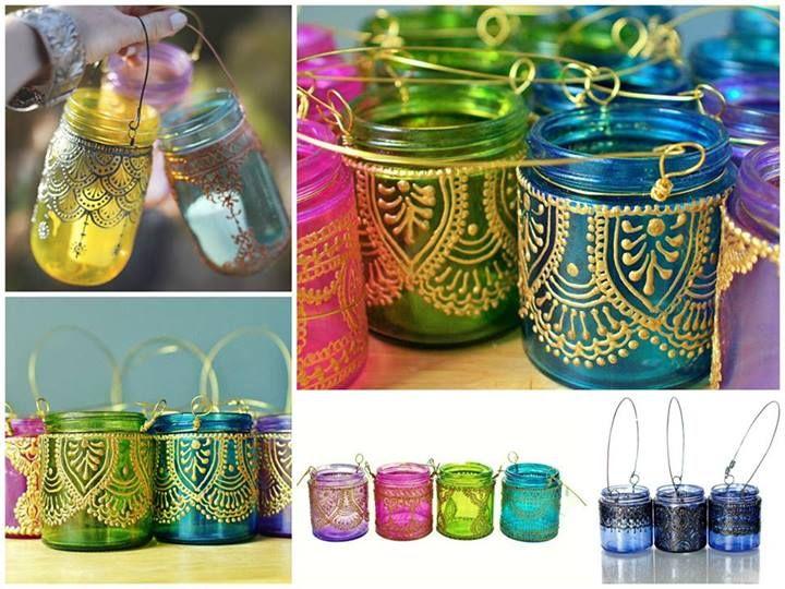 Recicle vidros de papinha de bebê, criando luminárias para velas. Basta pintar com verniz vitral colorido e depois de seco, fazer arabescos com tinta relevo(dimensional)