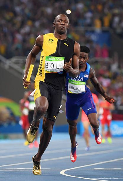 Jamaica's Usain Bolt crosses the finish line of the Men's 4x100m Relay Final during the athletics event at the Rio 2016 Olympic Games at the Olympic...