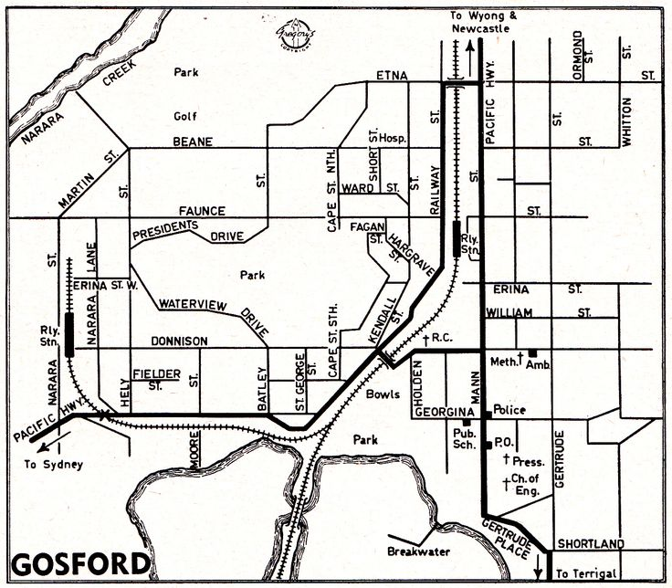 Map of Gosford, NSW c1950's