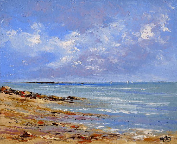 Dessin et peinture vid o 1969 mer et rivage pour une marine r alis e la peinture l 39 huile - Cote d un artiste peintre ...