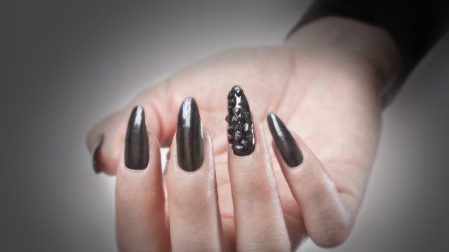 Stiletto nails #Black #Matte #Glossy