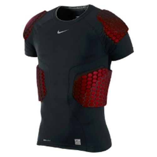 NWT Pro Combat Hyperstrong Football 4 Pad Shirt Black/Red #Nike