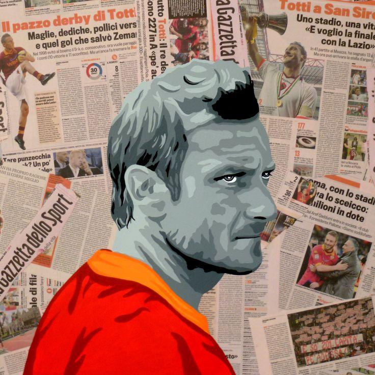 Francesco Totti Dipinto a mano su pagine della gazzetta applicate su base di legno con tecnica decoupage.  Dimensione cm 69x69 sp.4