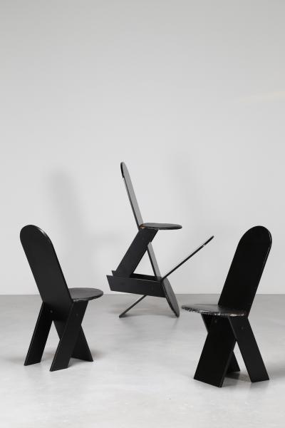 ZANUSO MARCO (1916 - 2001) - Quattro sedie in legno laccato nero e pelle, mod, SD [...], Design - Vente Online à Capitolium Art   Auction.fr