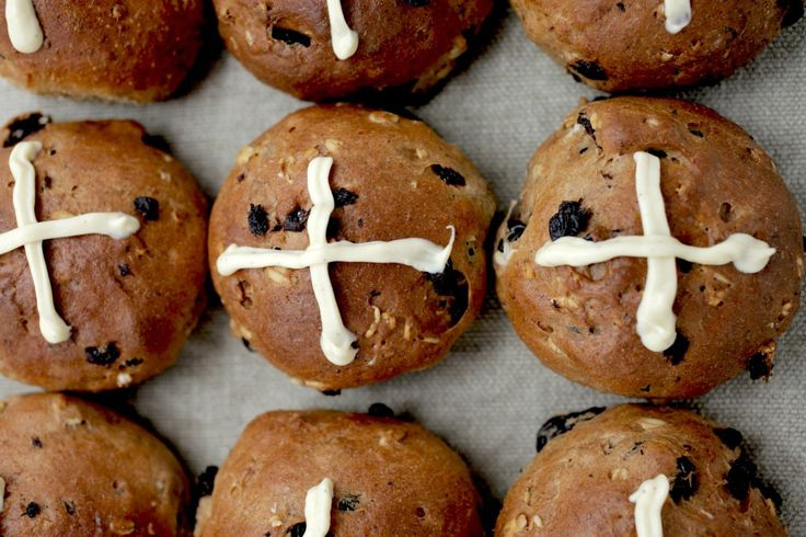 Now is the perfect time for making these delicious hot cross buns made from wholemeal spelt, rye, plump raisins, honey, cinnamon and vanilla. Start the recipe the day before you need them. Make a double batch because these won't last long! These tasty buns are not very difficult to make, actually the dough is very