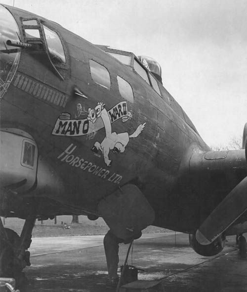 """B-17 """"Man O War II Horsepower Ltd."""" of the 322nd Bomber Squadron, 91st Bomb Group. """"Man O War II"""" flew numerous missions with the 91st for nine months before being lost in November 1944 in a mission over over Merseburg."""