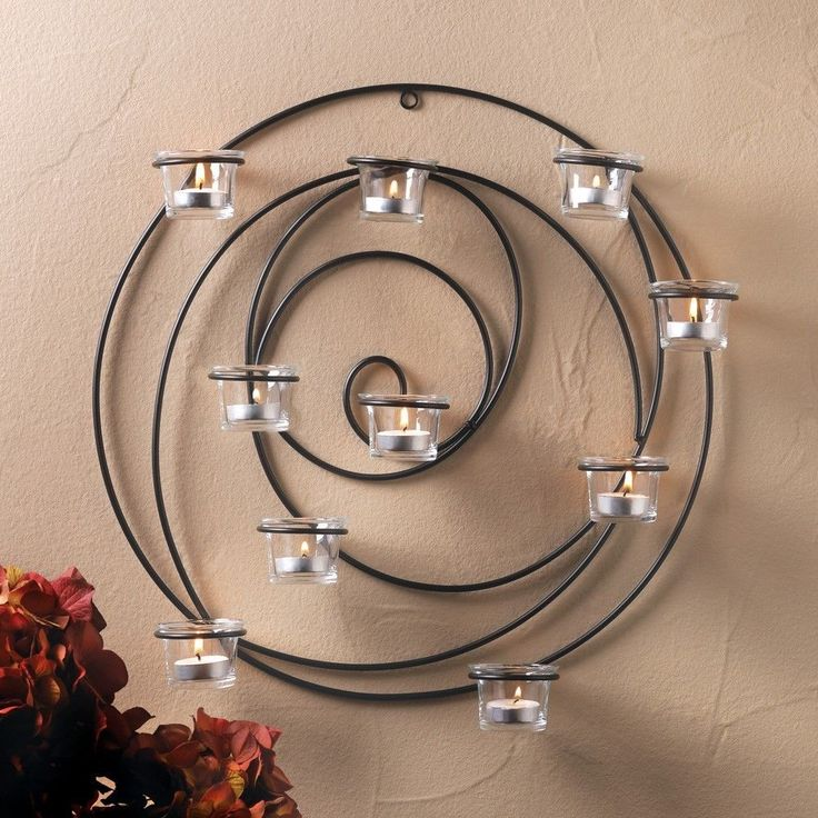 Circular Wall Sconce Candle Holder : 1 Circular Metal Hypnotic Candle Wall Sconce Holds 10 Candles Glass Decor Sconces, Tealight ...