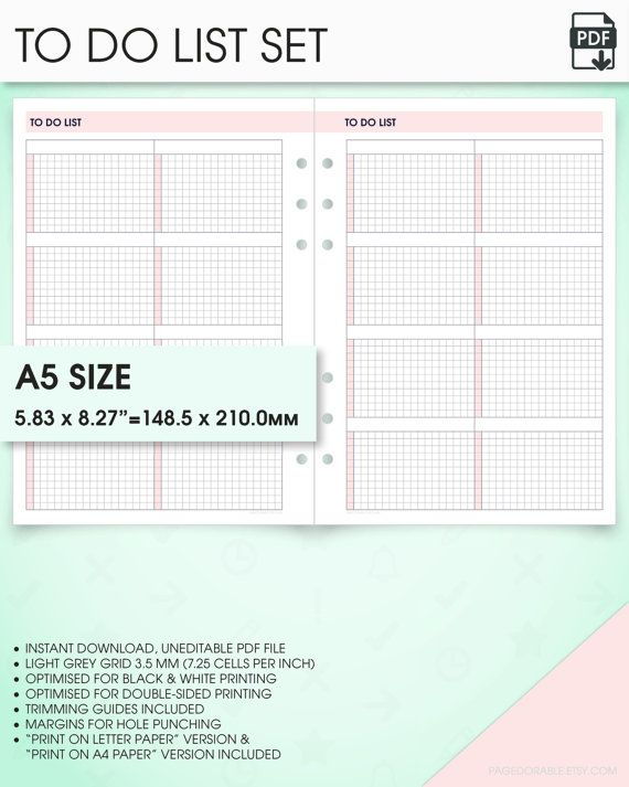 24 best DIY planner printable A5 inserts (Filofax A5, Kikki K - one inch margins