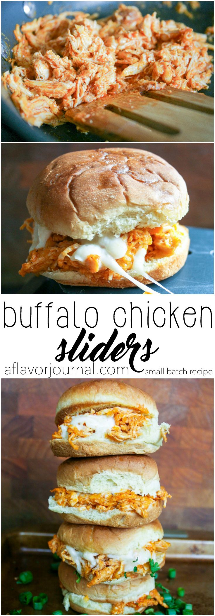 EASY buffalo chicken sliders! this recipe is for two, but can easily be doubled, tripled, or quadrupled! spicy chicken and cheese melted on sliders buns ... doesn't get much better. :) buffalo chicken sliders : a small batch recipe for two. http://aflavorjournal.com/buffalo-chicken-sliders/