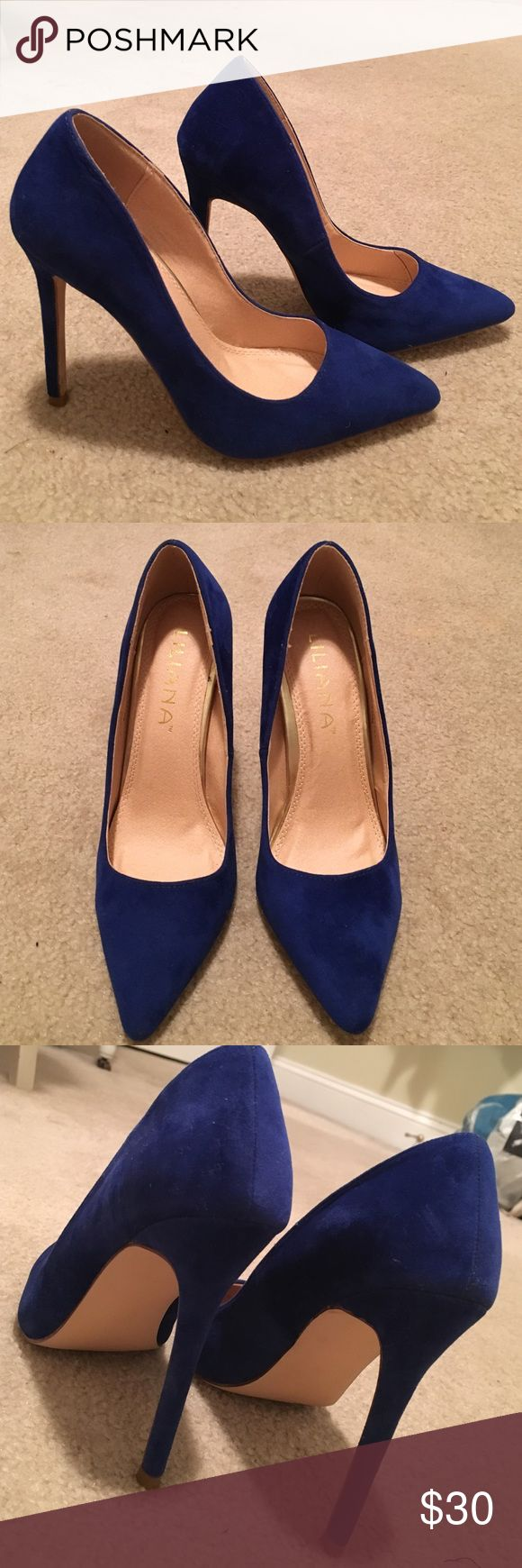 Liliana royal blue suede pumps Never worn! Super cute blue suede pumps with a pointed toe! Liliana Shoes Heels