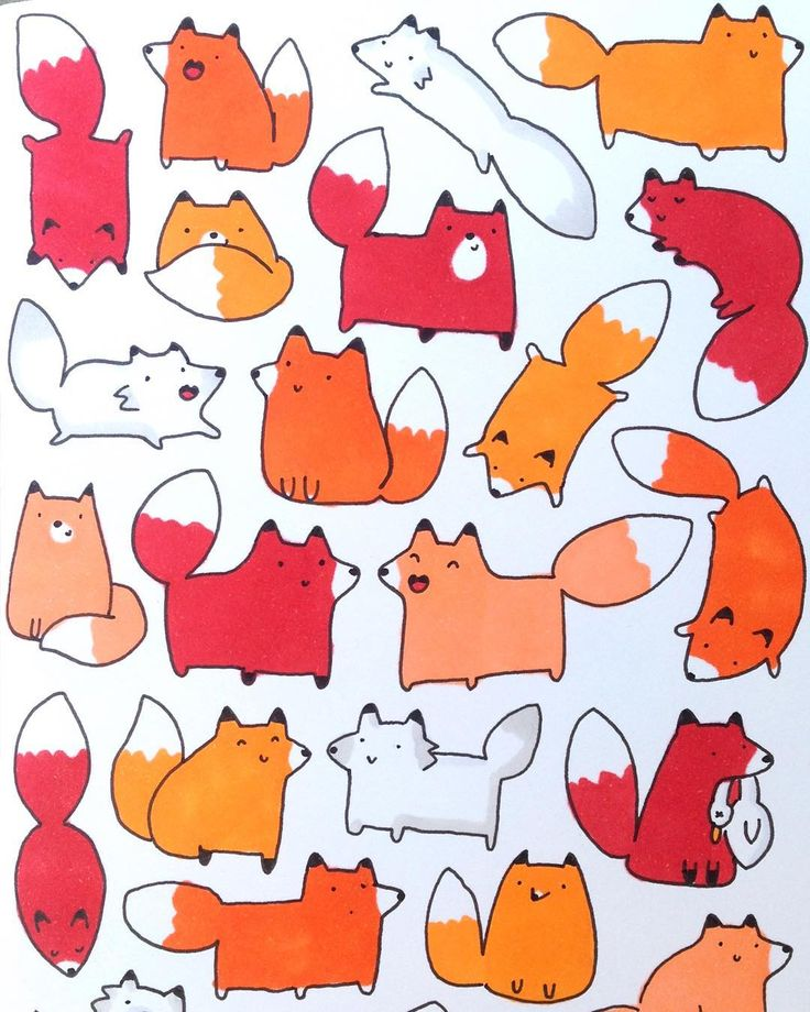 """Some #kawaii #doodle #foxes dedicated to my fox-loving BFF @fraukesiemens ❤️…"