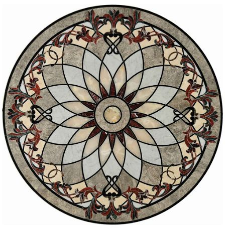 This would be beautiful in white marble.  Love the white onyx.  Medallion by Waterjet Wonders, Ltd.