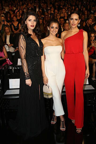 Katherine Schwarzenegger Marta Palatchi and Louise Roe pose during Pronovias bridal collection during the 'Barcelona Bridal Fashion Week 2016' on April 29, 2016 in Barcelona