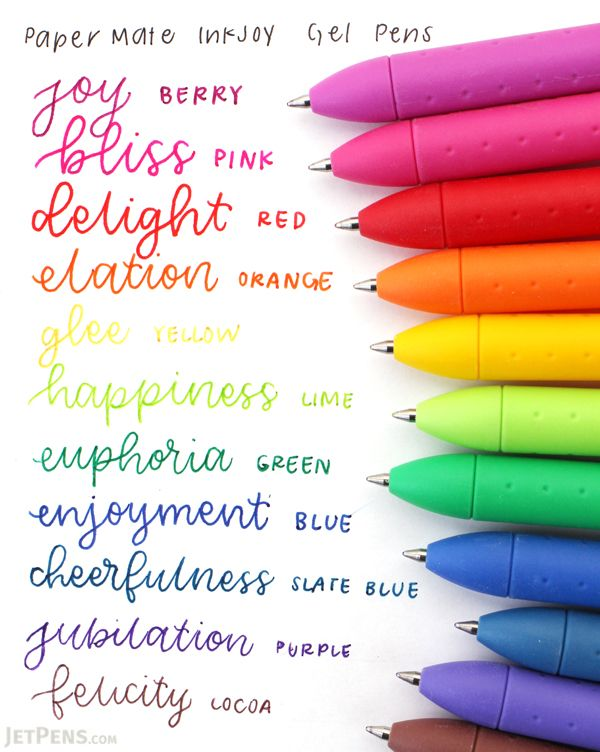 Paper Mate InkJoy Gel Pens feature fast-drying, smear-free ink—great for lefties!