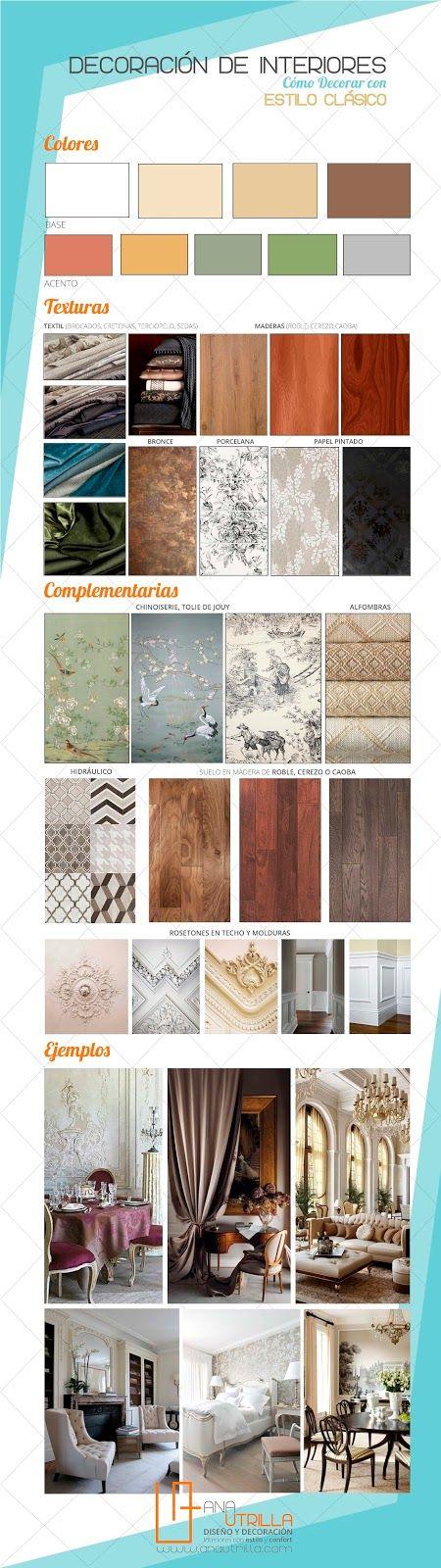 #Infografía de #Cómodecorar tu casa con estilo #clásico por Ana Utrilla, #decoracióninterior consejos y #tips www.anautrilla.com info@anautrilla.com