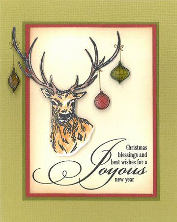 Stamp-it Australia: 4986E Stag, siset059 Joyous Wording, 4356E Linear Baubles, Shrink Plastic - Card by Susan