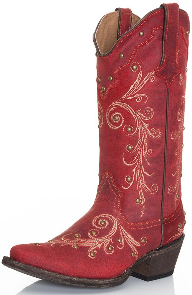 Tanner Mark Womens Ginger Cowgirl Boots - Red $210.00