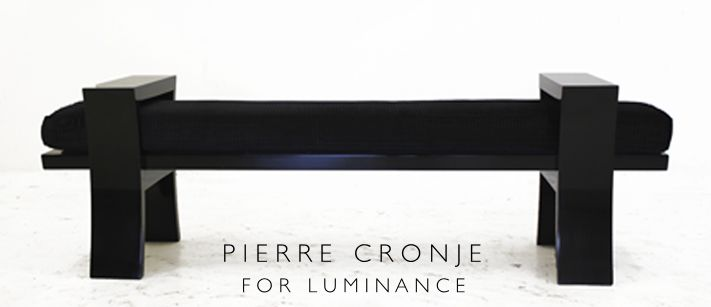 Pierre Cronje for Luminance Ottoman with curved legs in French Polished Mahogany