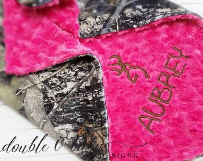 Personalized Camo Baby Blanket, Camo Baby, Pink Camo Blanket, Baby Girl