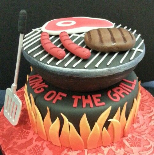 Bbq grill themed cake