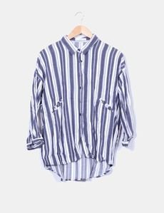 Camisa rayas azul marino y blanco Mango
