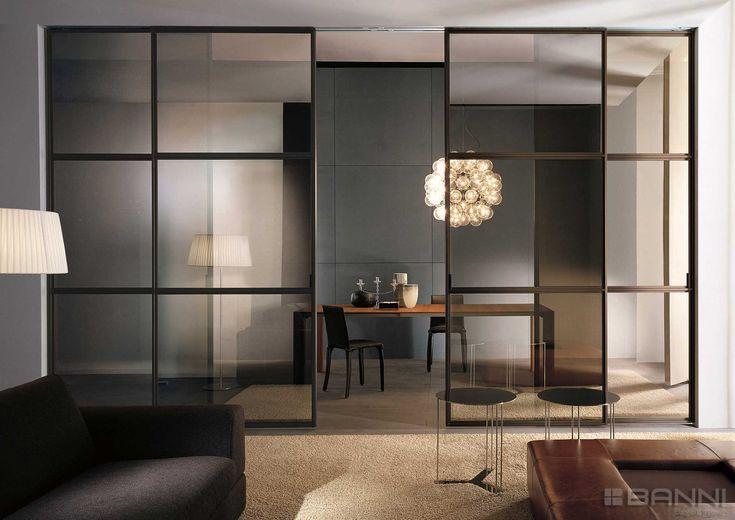 Puertas correderas de Longhi modelo wind de aluminio y cristal #elegance #design #designporn #interiordesign #quality #furniture #banni