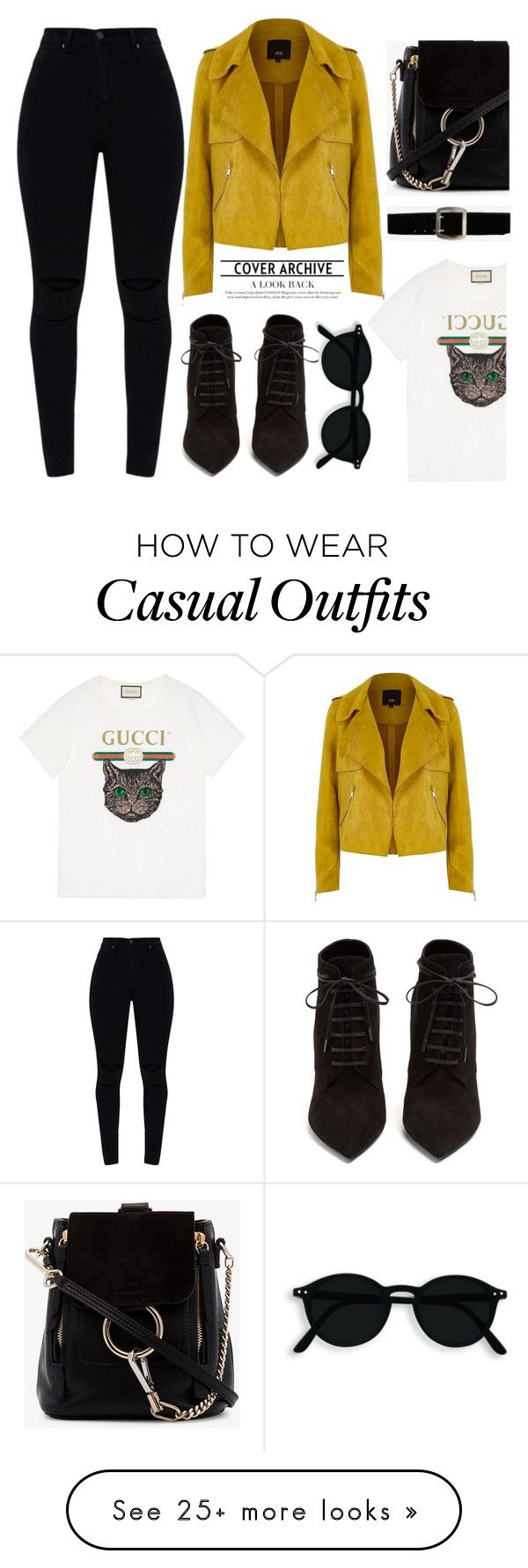 """""""Get Casual"""" by melaniemeran on Polyvore featuring River Island, Gucci, Yves Saint Laurent, Chloé, Express, PopsOfYellow and NYFWYellow"""
