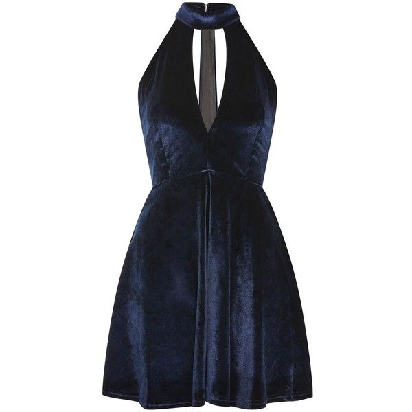 Velvet High Neck Skater Dress by Oh My Love ($55) ❤ liked on Polyvore featuring dresses, navy blue, deep v-neck dresses, oh my love dresses, low v neck dress, deep v neckline dress and velvet dress