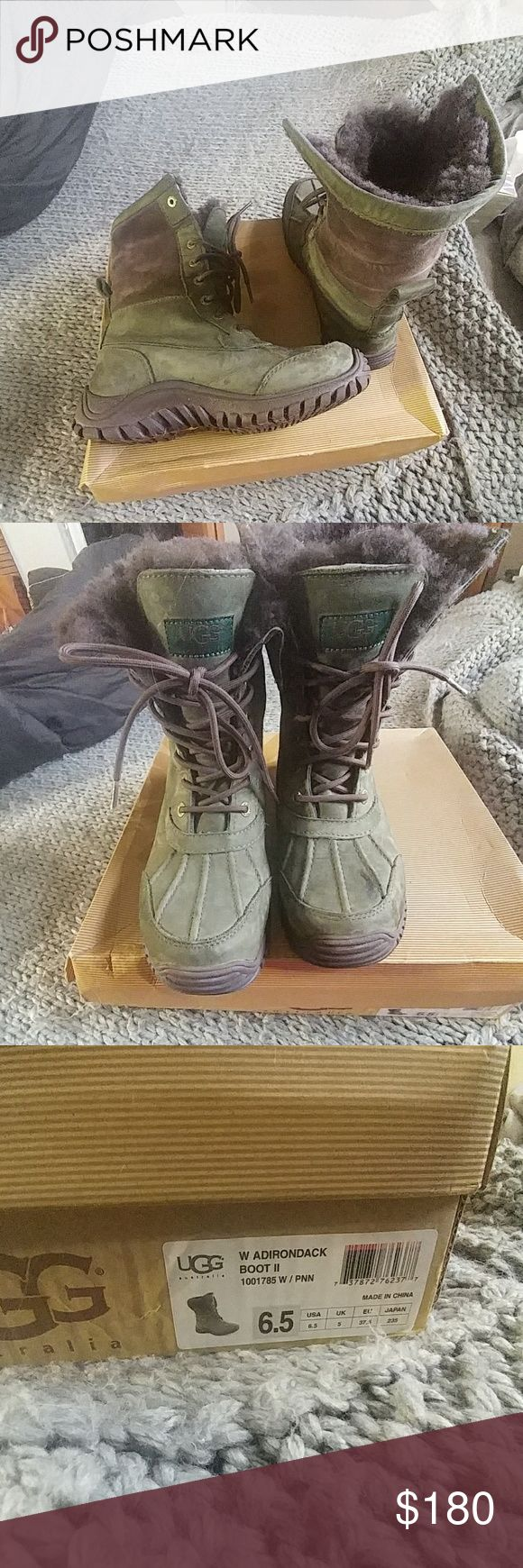 Ugg Adirondack boot ii- women's 6.5 in pineneedle Gently used Ugg Adirondack boot ii in a size 6.5. Pineneedle color is pretty rare and it kills me to give up these babies but i have to clean out a bit. Marks from wear and one small spot on the front. Waterproof and cozy!! Retail $225 UGG Shoes Winter & Rain Boots