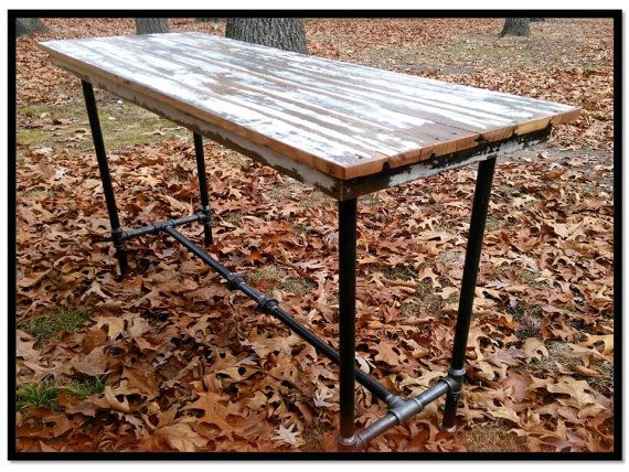 Delightful Sofa Table Kitchen Island Rustic Reclaimed Old Wood Porch Flooring Pipe Legs  Distressed Weathered Modern Industrial Gallery