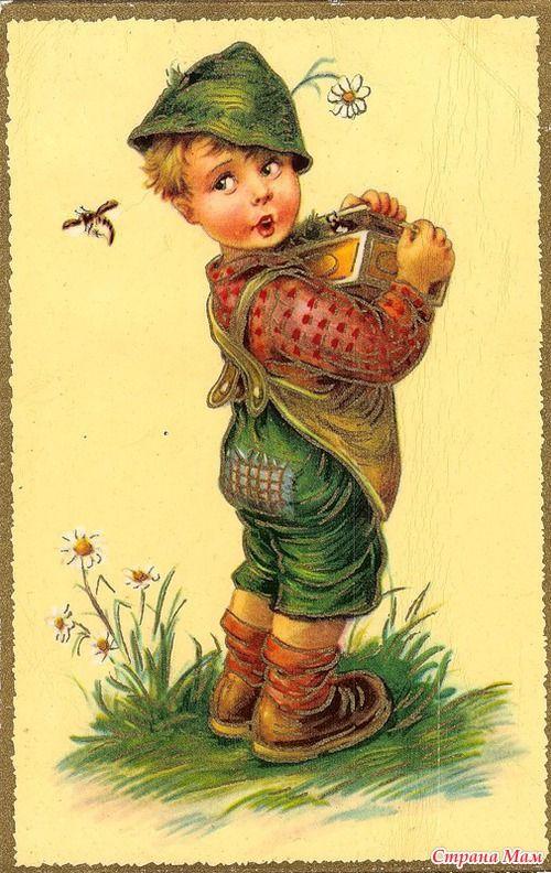 Полевые цветы, винтажная открытка для мальчика