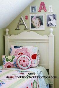 Monogram Photo Wall: Wall Art, Monograms Wall, Cute Ideas, Photos Collage, Photos Wall, Attic Rooms, Wall Beds, Girls Rooms, Kids Rooms