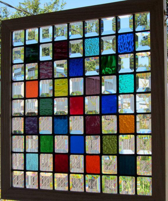 Oak Framed Multi Color Stained Glass Window by DebsGlassArt
