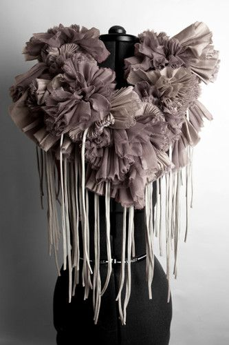 Mauve Fabric Neckpiece with gathered textures and fringe detail - fabric manipulation; 3D collar; sewing ideas