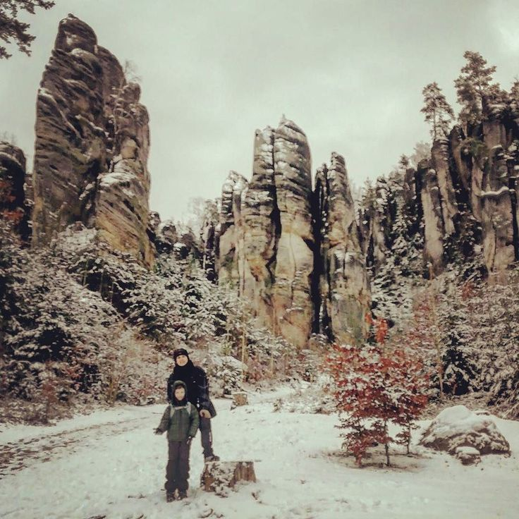 Prachovské skály pod sněhem #prachovskeskaly