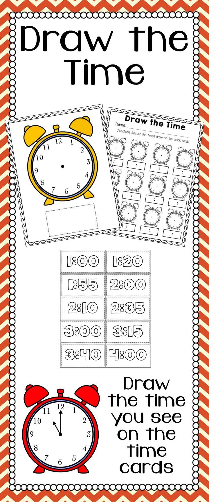 Draw the Time Center Activity  Let your students practice what different times look like on the clock by letting them play this fun game. Laminate clock and time cards. Place one time card at a time on the clock. Use a dry erase marker to draw what that time looks like. Keep students accountable for their time at this center with a corresponding worksheet!