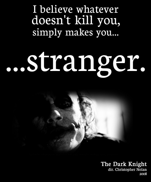 I Believe Whatever Doesn T Kill You Simply Makes You Stranger The