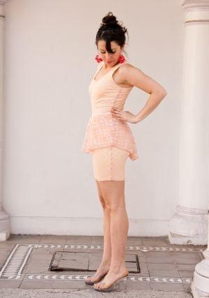 Vestido Peplum Coral Claro - Anita Varas