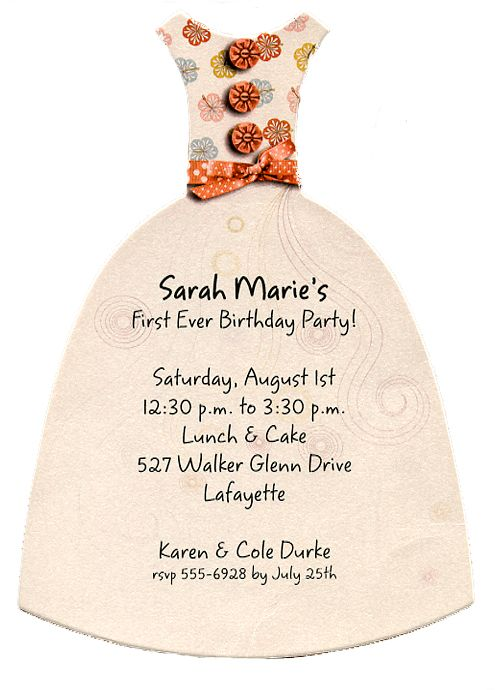 Unique, original Shimmery Diecut Dress Party Invitations #invitations