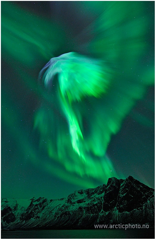 The biggest solar flare in six years reached Earth on January 24th and created this beautiful aurora. Photo by Bjorn Jorgensen.