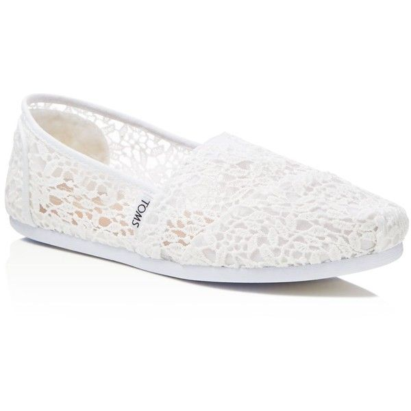 Toms Seasonal Classics White Lace Flats found on Polyvore featuring shoes, flats, flat heel shoes, flat pumps, lacy shoes, white flats and white flat shoes