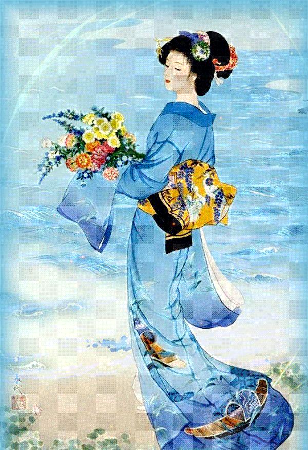Фото Девушка восточной наружности в национальном японском наряде стоит на фоне воды и держит в руках букет цветов. В небе пролетает птица