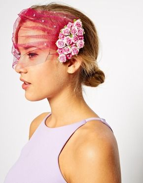 ASOS Mini Flower Veil Hair Combs(.felt, netting, small flower ( Walmart hobby store ), clips and stones ( Amazon Kit under 8.00 ) Mass produce to save money.