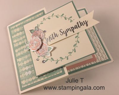Stampin Gala: BEAUTIFUL FOLD SYMPATHY CARD VIDEO AND DIMENSIONS
